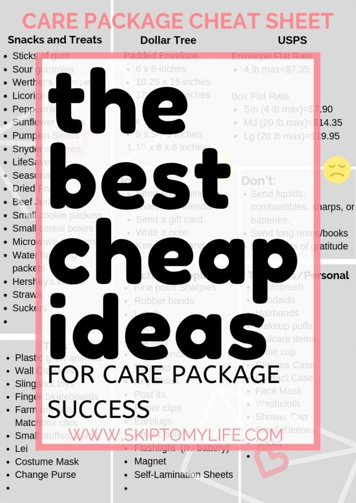 Print this Cheat Sheet and make the care package your kids want.