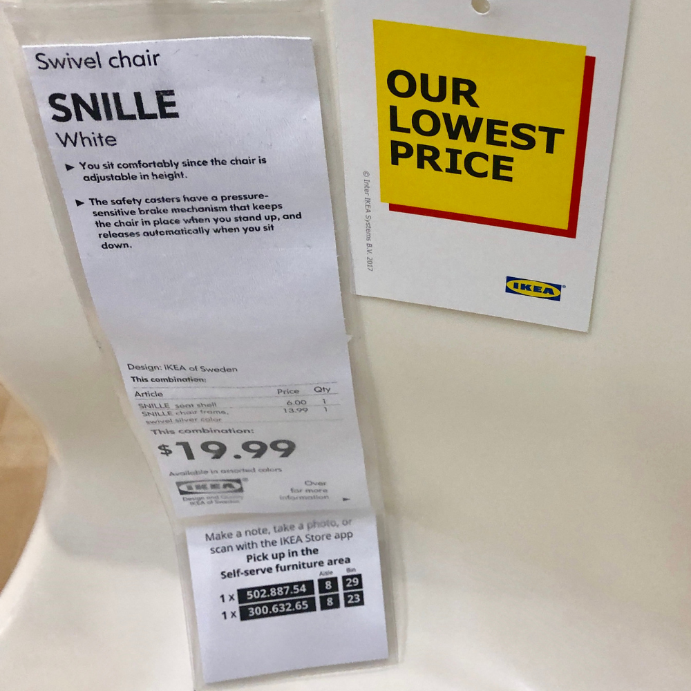 Make sure you snap a photo of the tag for larger items at IKEA.