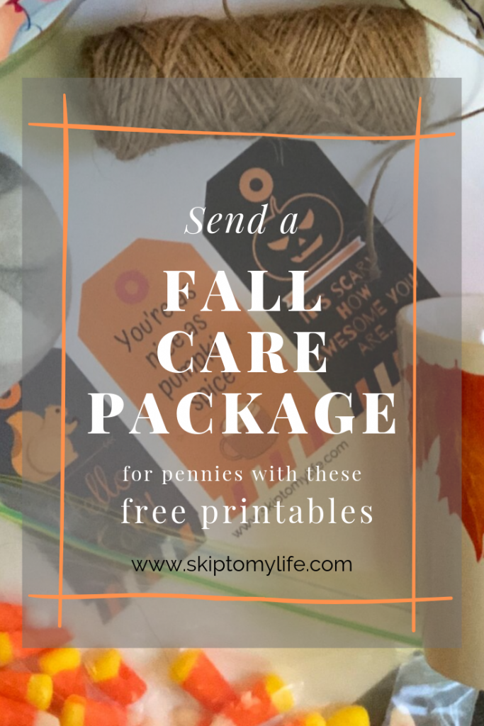 Print these 3 gift tags and make a fun, fall care package.