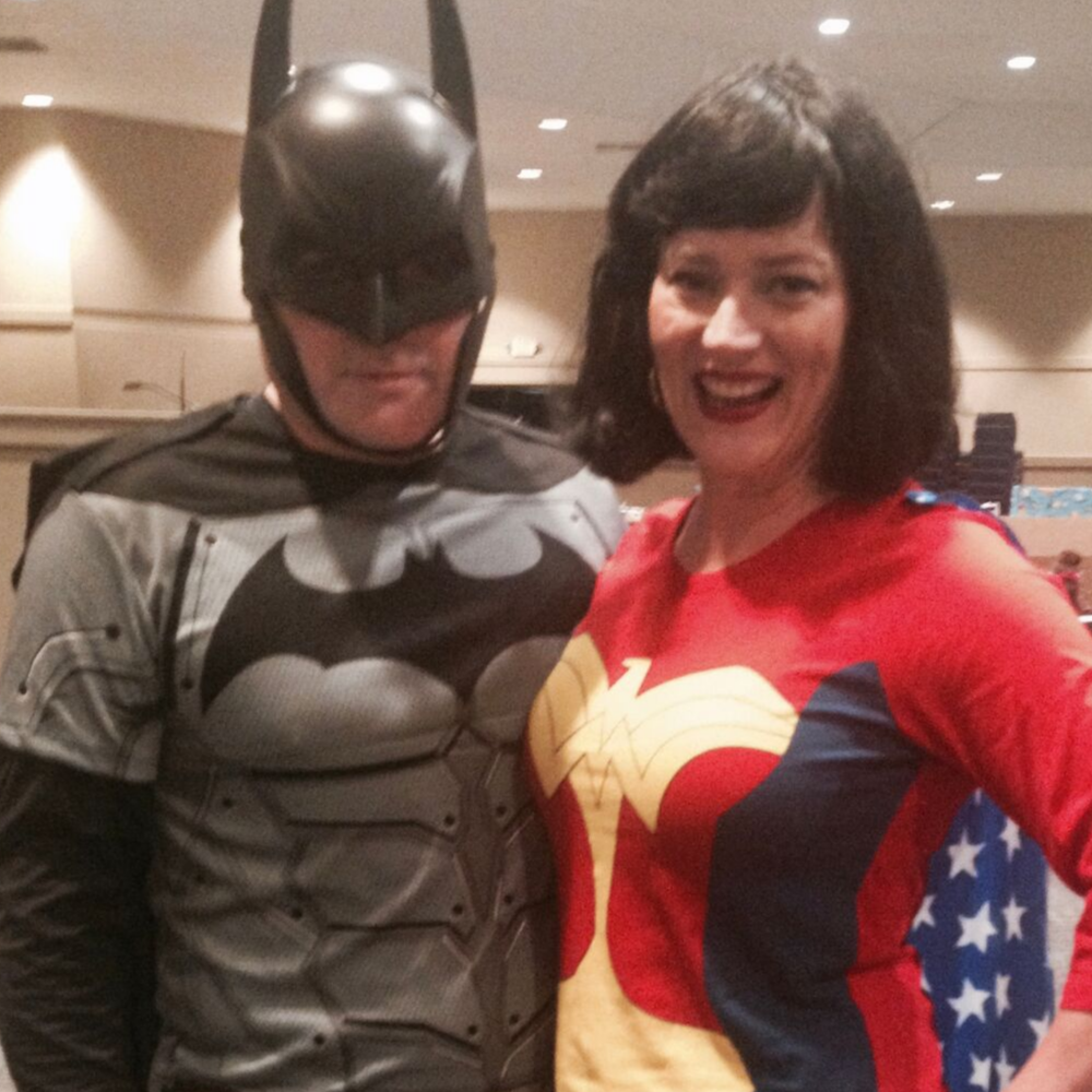 Batman and Wonder Woman helped out at our church carnival.
