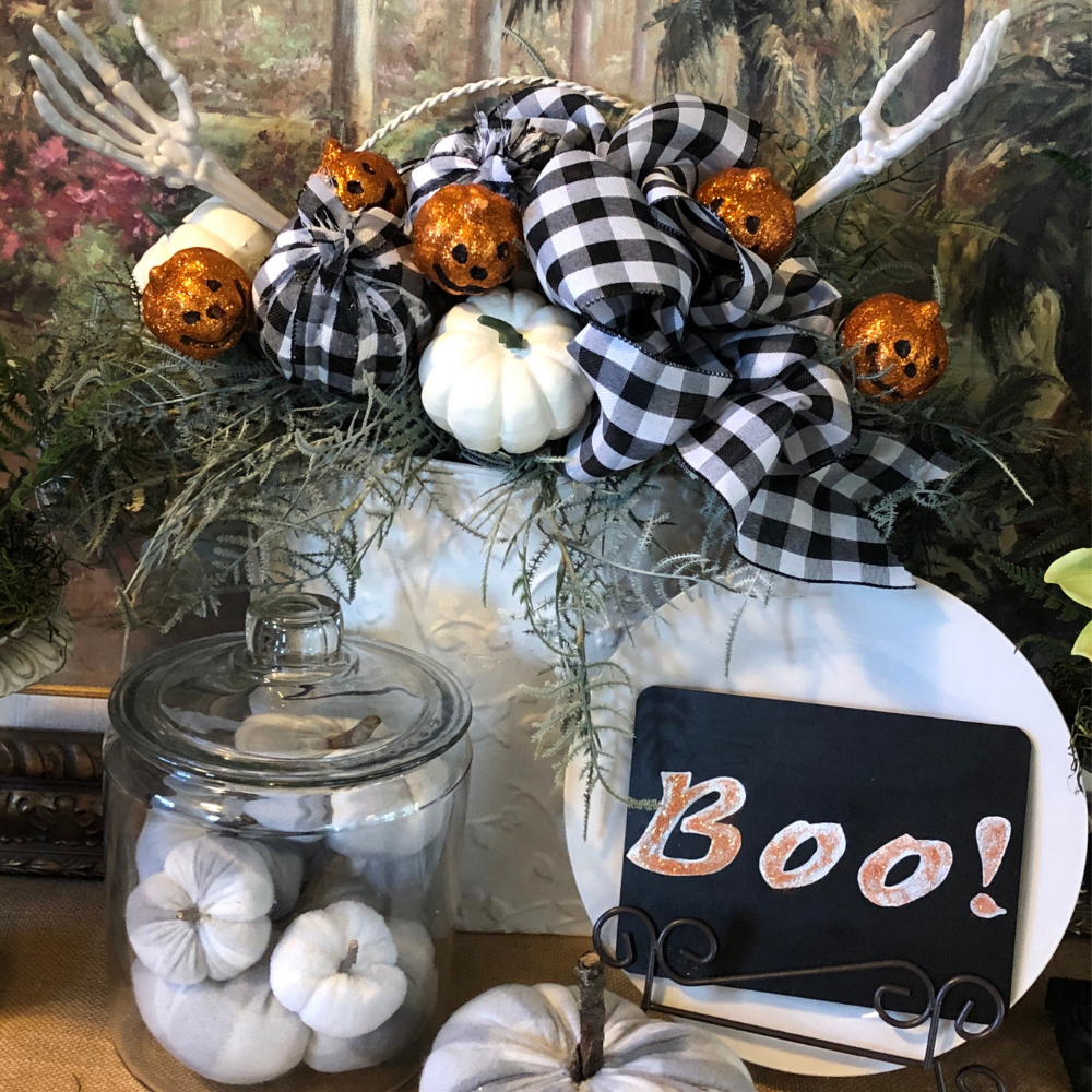 For just a couple dollars, you can transform fall decor into spooky Halloween!