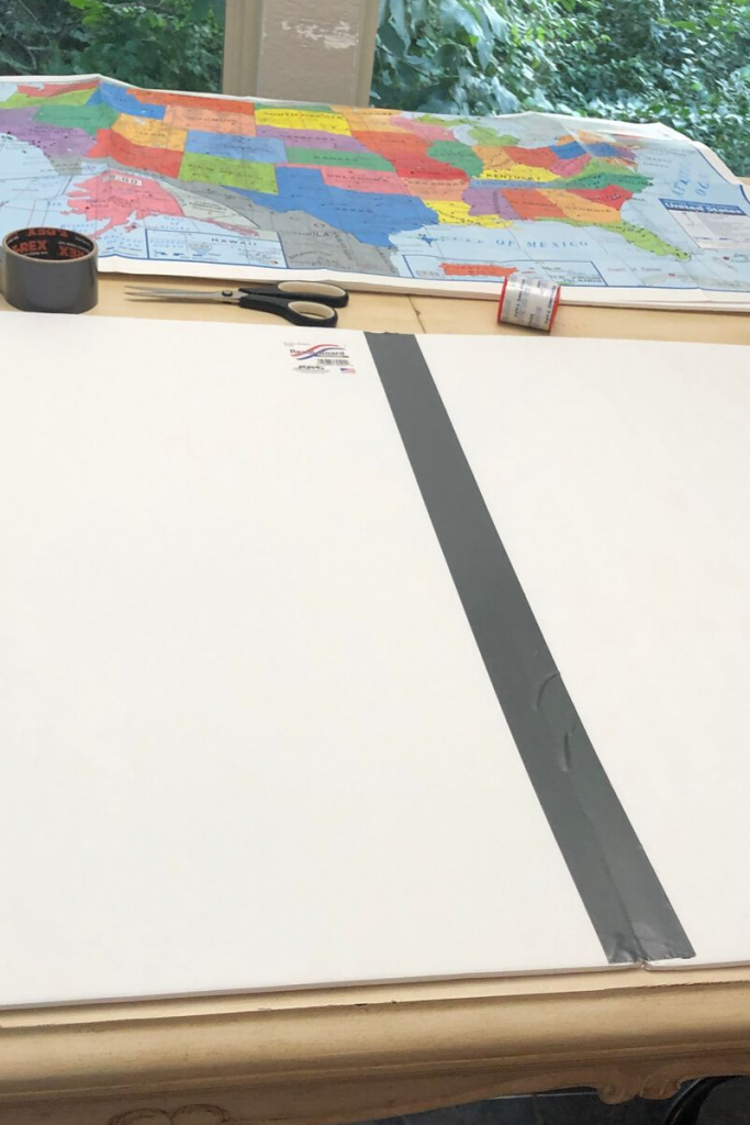You'll need a Dollar Tree map and two pieces of foam core to begin this project.