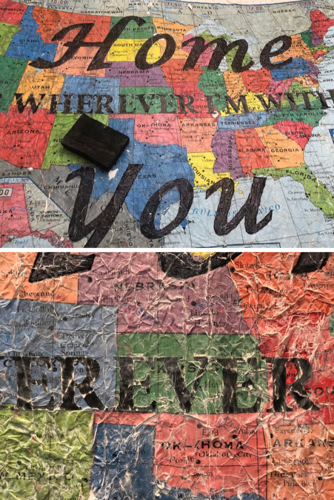 Keep connected to our family with this fun, distressed map project.