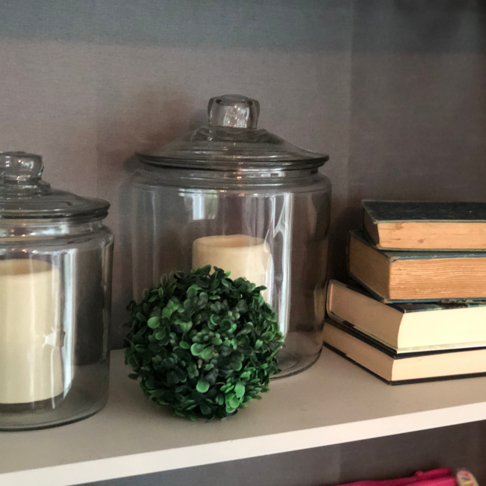Our old pressed wood bookshelves got a sophisticated update with a fresh coat of chalk paint.