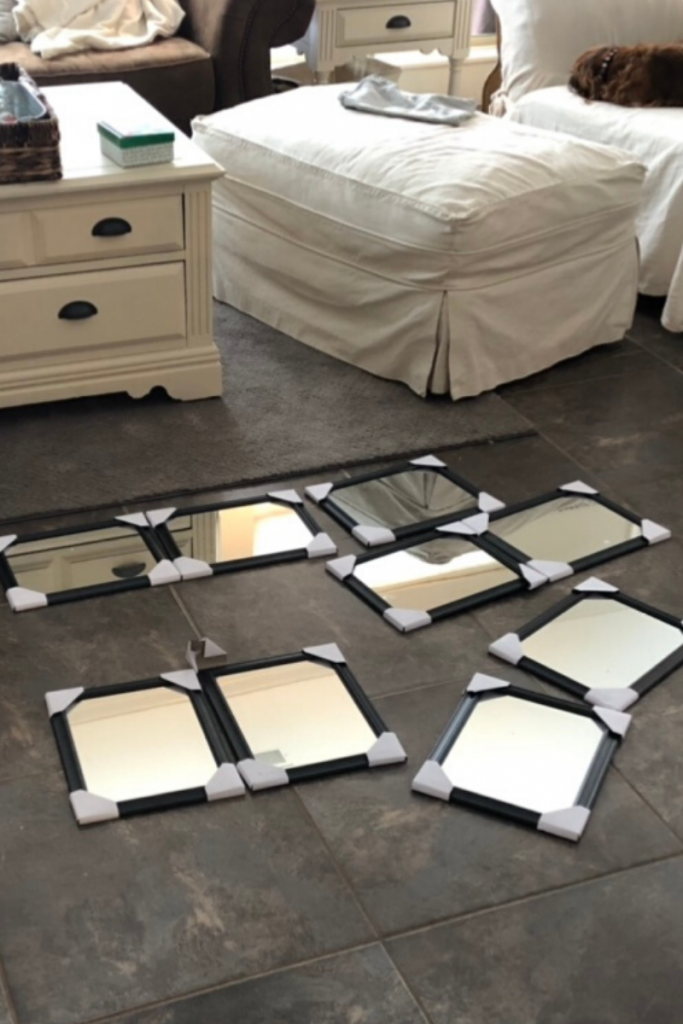 Dollar Tree mirrors are an inexpensive way to make a big statement in a small space.