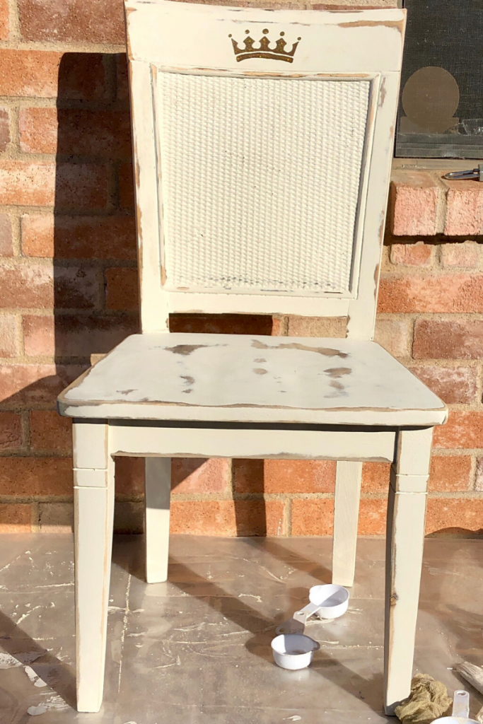 A few coats of chalk paint transformed this resale store chair.