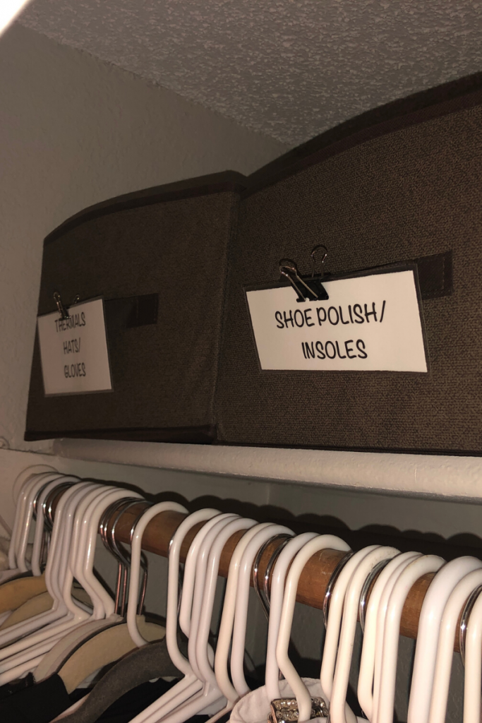 Cure your clutter by corraling odds and ends into collapsible boxes.