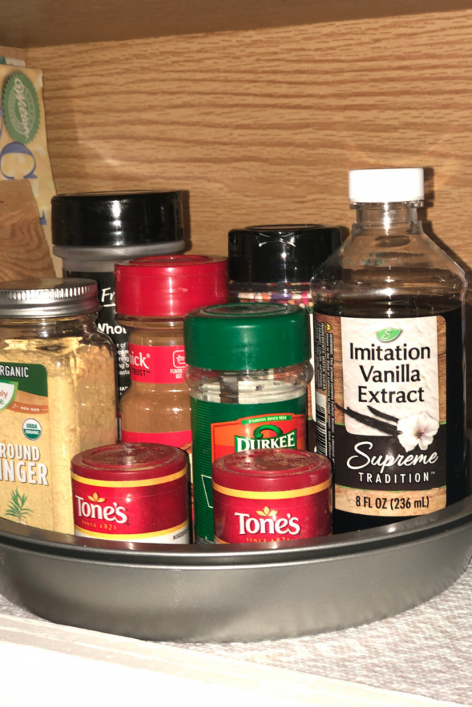 Make an inexpensive lazy susan for spices and other items.