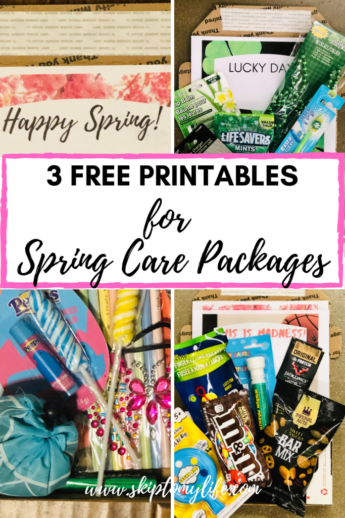 These spring care package printables include St. Pat's, March Madness, and Easter.